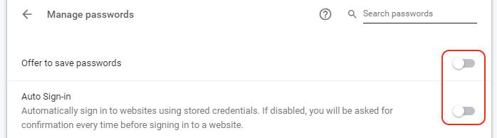 Google Chrome passwords off