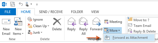 Forward email as attachment button in Outlook 2016