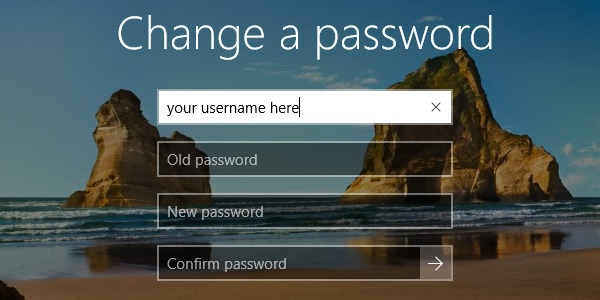 Ctrl-Alt-Del Change a password in Windows 10