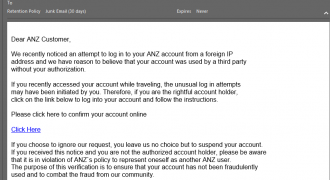 "ANZ Fake Email (October 2018) – Note: incorrect sender address, no user-specific information, bad formatting, no branding – Source: <a href=""https://help.sentrian.com.au/knowledge/get-support/"" target=""_blank"" rel=""noopener"">Sentrian Service Desk</a>"