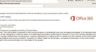 "Office 365 Fake Email (October 2018) – Note: no user-specific information, bad formatting, suspicious link – Source: <a href=""https://www.mailguard.com.au/blog/bogus-office365-brandjacked-phishing-attack"" target=""_blank"" rel=""noopener"">MailGuard</a>"