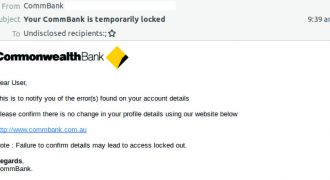"Commbank Phishing Email (November 2018) – Note: No user-specific information (Dear User), poor grammar  – Source: <a href=""https://twitter.com/MailGuard/status/1067936525328048128"" target=""_blank"" rel=""noopener"">MailGuard</a>"