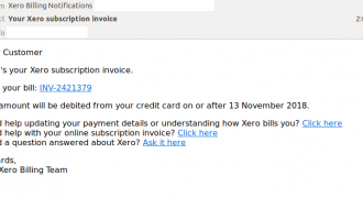 "Xero Phishing Email (November 2018) – Note: no user-specific information, no branding – Source: <a href=""https://www.mailguard.com.au/blog/beware-invoice-email-scam-brandjacking-xero"" target=""_blank"" rel=""noopener"">MailGuard</a>"