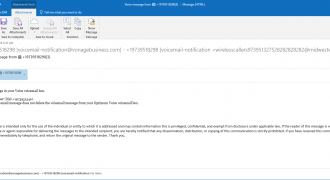 "Fake Voicemail Email (December 2018) – Note: Wrong & confusing sender address, incorrect receiver address, incorrect phone system – Source: <a href=""https://help.sentrian.com.au/knowledge/get-support/"" target=""_blank"" rel=""noopener"">Sentrian Service Desk</a>"