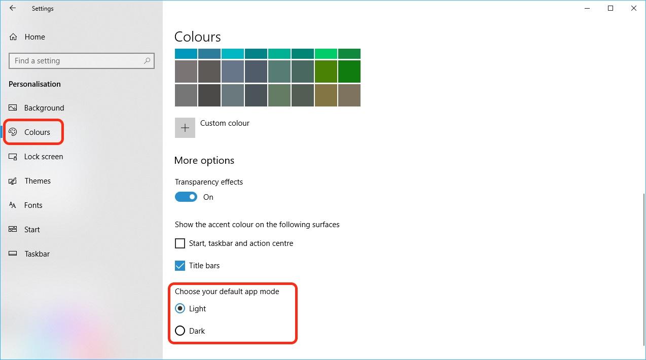 Windows 10 dark mode