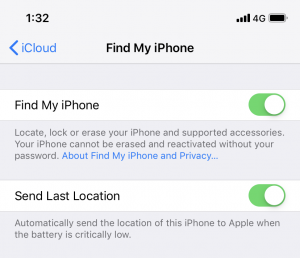 Find My iPhone - Send Last Location setting