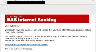 """Fake NAB Email (May 2019) – Note: Well formatted but non-specific information (""""Dear customer""""), don't click links in emails – Source: <a href=""""https://twitter.com/MailGuard/status/1131794246464397313/photo/1"""" target=""""_blank"""" rel=""""noopener noreferrer"""">MailGuard</a>"""