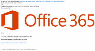 "Fake Office 365 Voice Email (May 2019) – Note: Illegitimate sender address, vague email title, poorly formatted content – Source: <a href=""https://help.sentrian.com.au/knowledge/get-support/"" target=""_blank"" rel=""noopener noreferrer"">Sentrian Service Desk</a>"