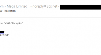 """Fake 3CX Voicemail Email (May 2019) – Note: Registered Trademark logo instead of @ symbol next to 3CX in email address, don't click links in emails – Source: <a href=""""https://help.sentrian.com.au/knowledge/get-support/"""" target=""""_blank"""" rel=""""noopener noreferrer"""">Sentrian Service Desk</a>"""