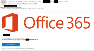 "Fake Sentrian-Office 365 Email (June 2019) – Note: Fake sender address, vague email title, poorly formatted content – Source: <a href=""https://help.sentrian.com.au/knowledge/get-support/"" target=""_blank"" rel=""noopener noreferrer"">Sentrian Service Desk</a>"